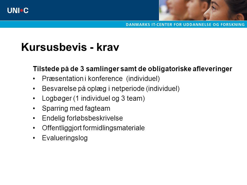 Kursusbevis - krav Tilstede på de 3 samlinger samt de obligatoriske afleveringer. Præsentation i konference (individuel)