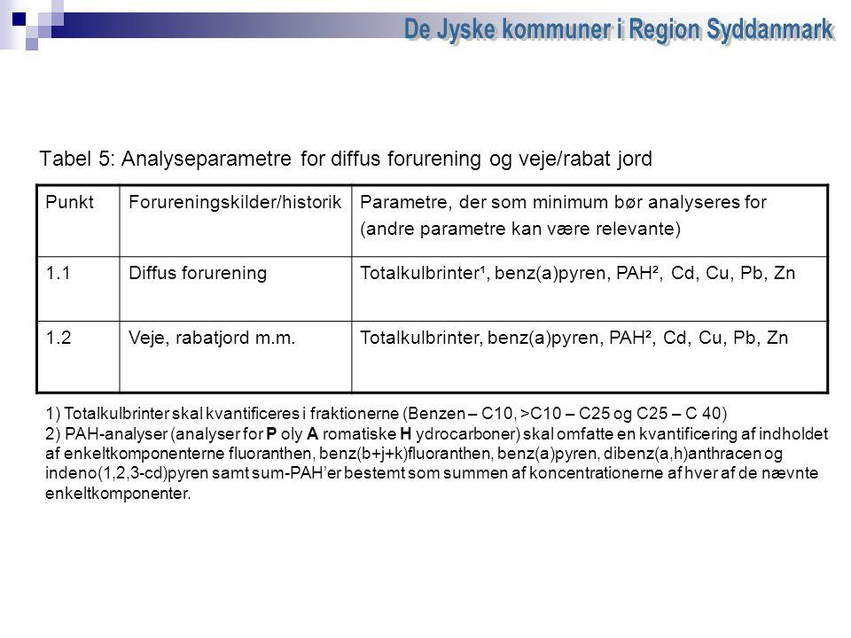 Tabel 5: Analyseparametre for diffus forurening og veje/rabat jord