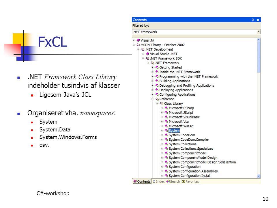 FxCL .NET Framework Class Library indeholder tusindvis af klasser