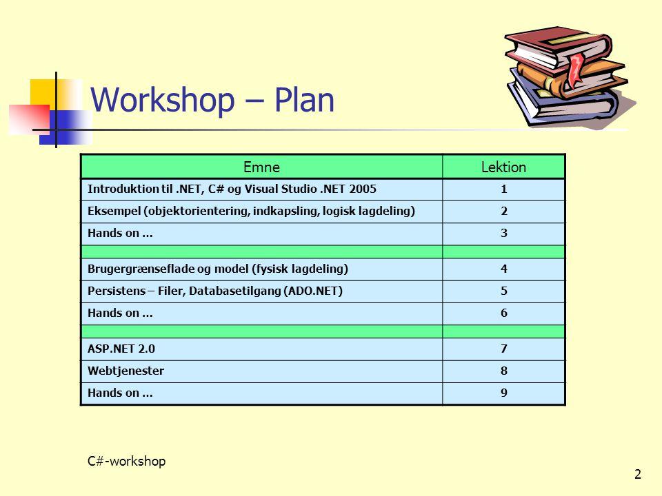 Workshop – Plan Emne Lektion C#-workshop