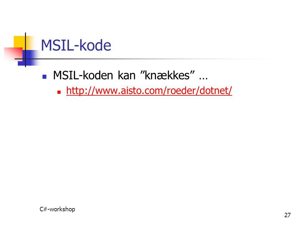 MSIL-kode MSIL-koden kan knækkes …
