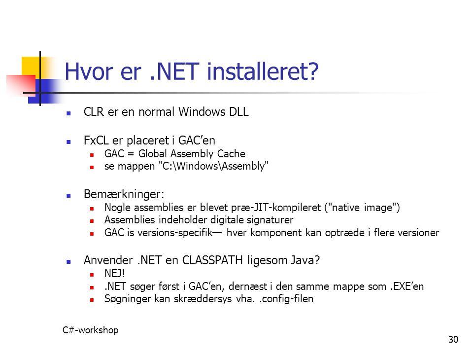 Hvor er .NET installeret