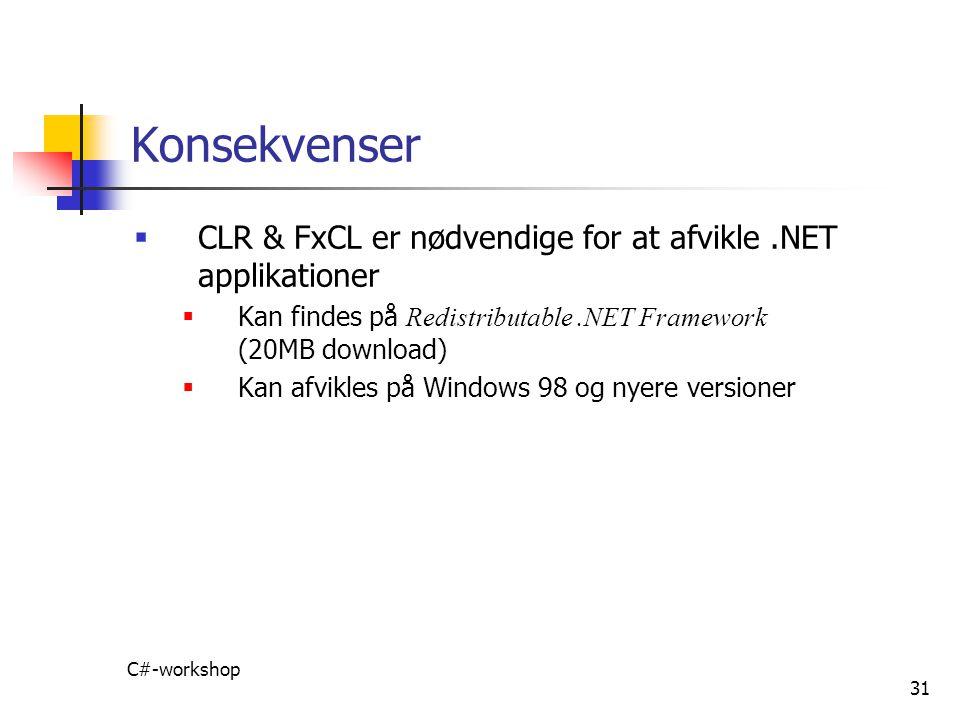 Konsekvenser CLR & FxCL er nødvendige for at afvikle .NET applikationer. Kan findes på Redistributable .NET Framework (20MB download)