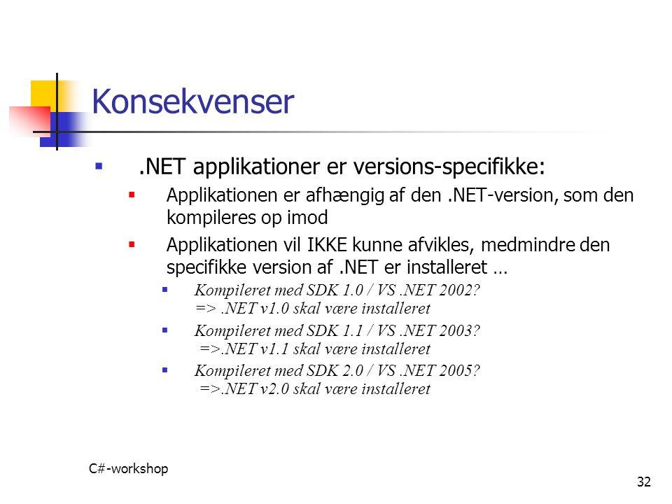 Konsekvenser .NET applikationer er versions-specifikke: