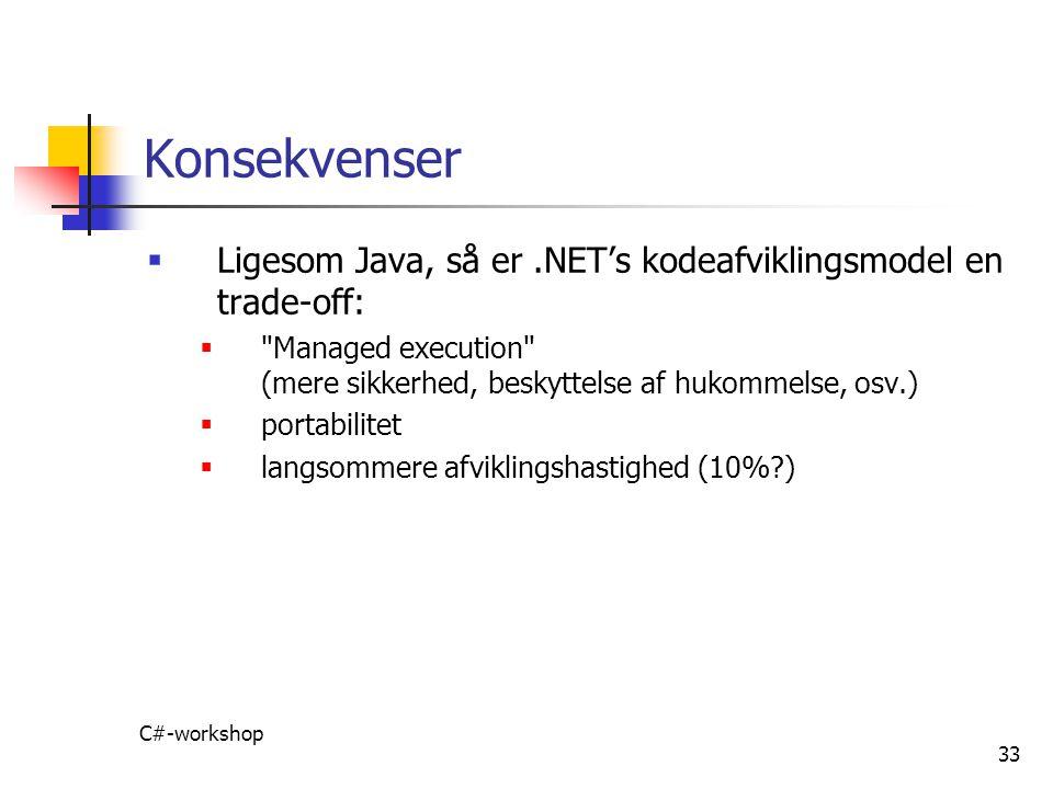 Konsekvenser Ligesom Java, så er .NET's kodeafviklingsmodel en trade-off: Managed execution (mere sikkerhed, beskyttelse af hukommelse, osv.)
