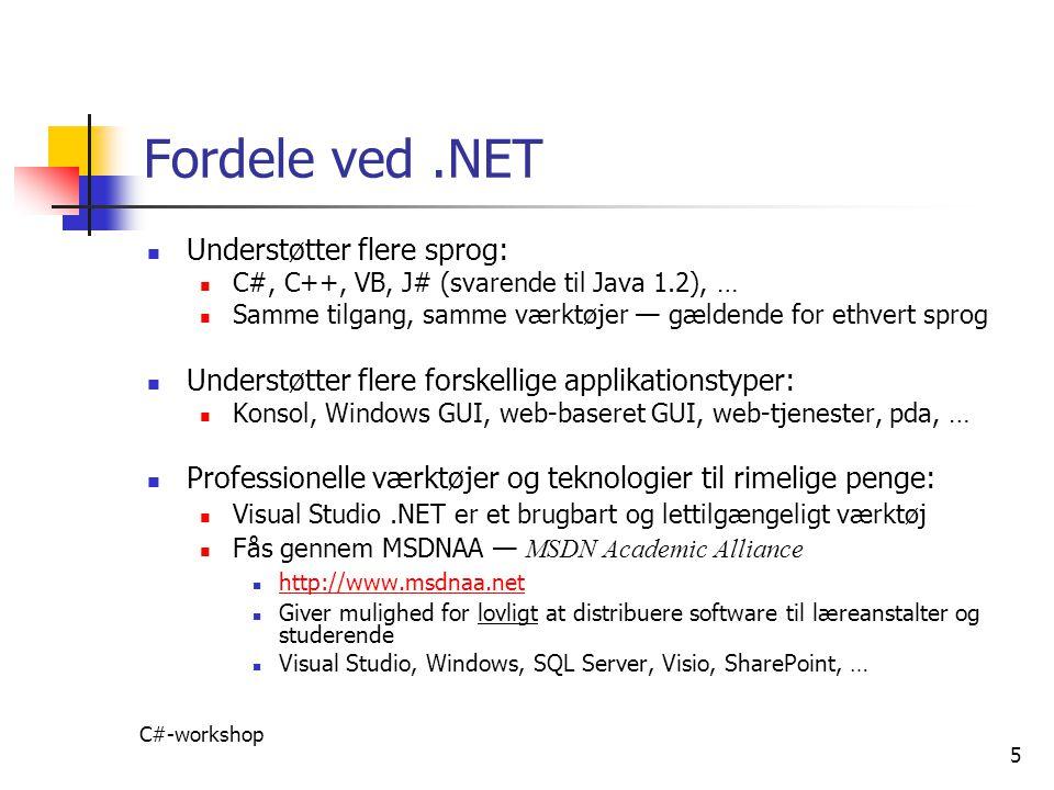 Fordele ved .NET Understøtter flere sprog: