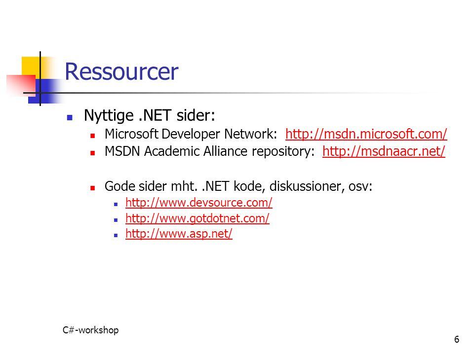 Ressourcer Nyttige .NET sider: