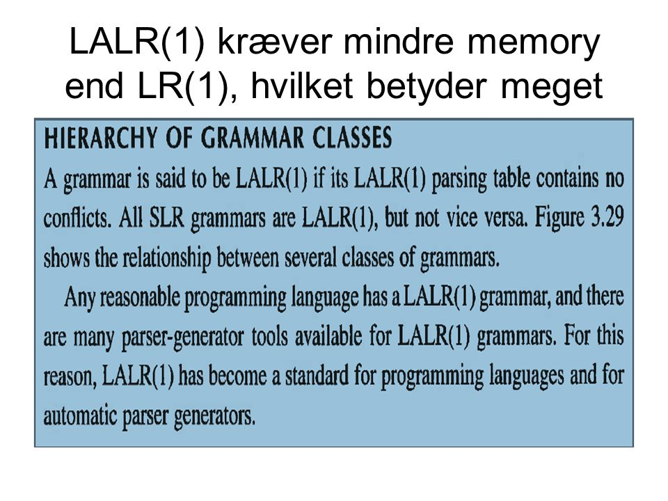 LALR(1) kræver mindre memory end LR(1), hvilket betyder meget