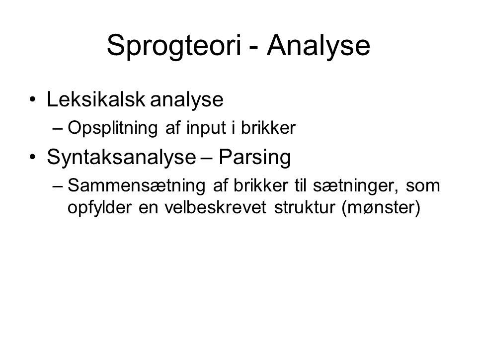 Sprogteori - Analyse Leksikalsk analyse Syntaksanalyse – Parsing