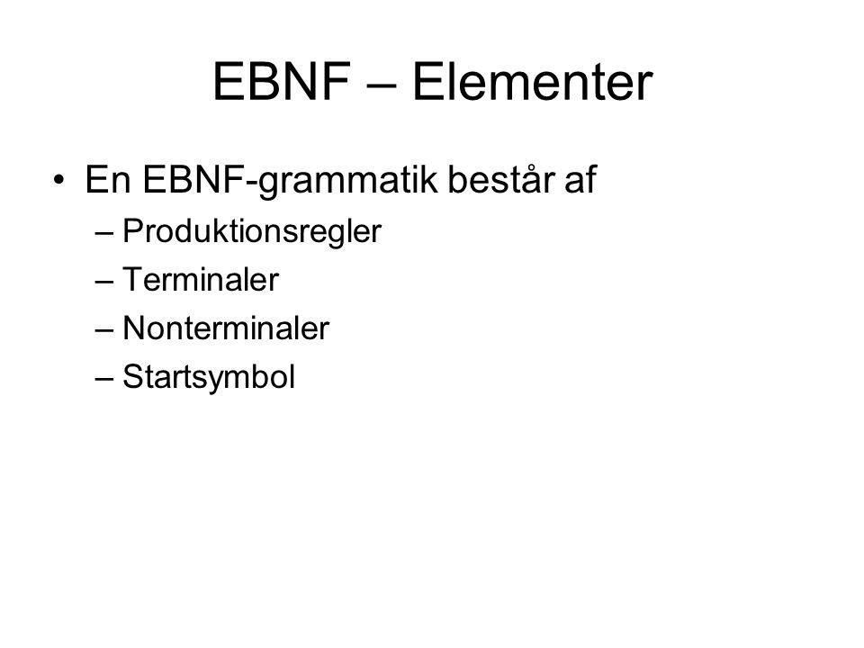 EBNF – Elementer En EBNF-grammatik består af Produktionsregler
