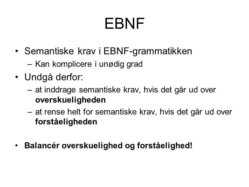 EBNF Semantiske krav i EBNF-grammatikken Undgå derfor: