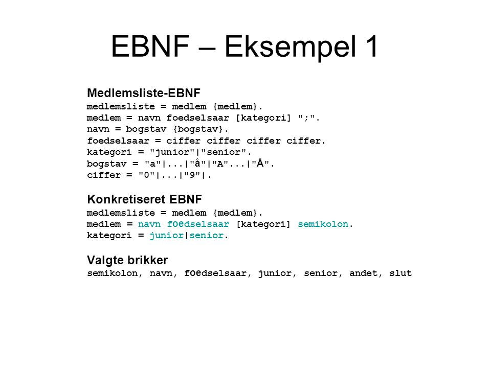 EBNF – Eksempel 1 Medlemsliste-EBNF Konkretiseret EBNF Valgte brikker