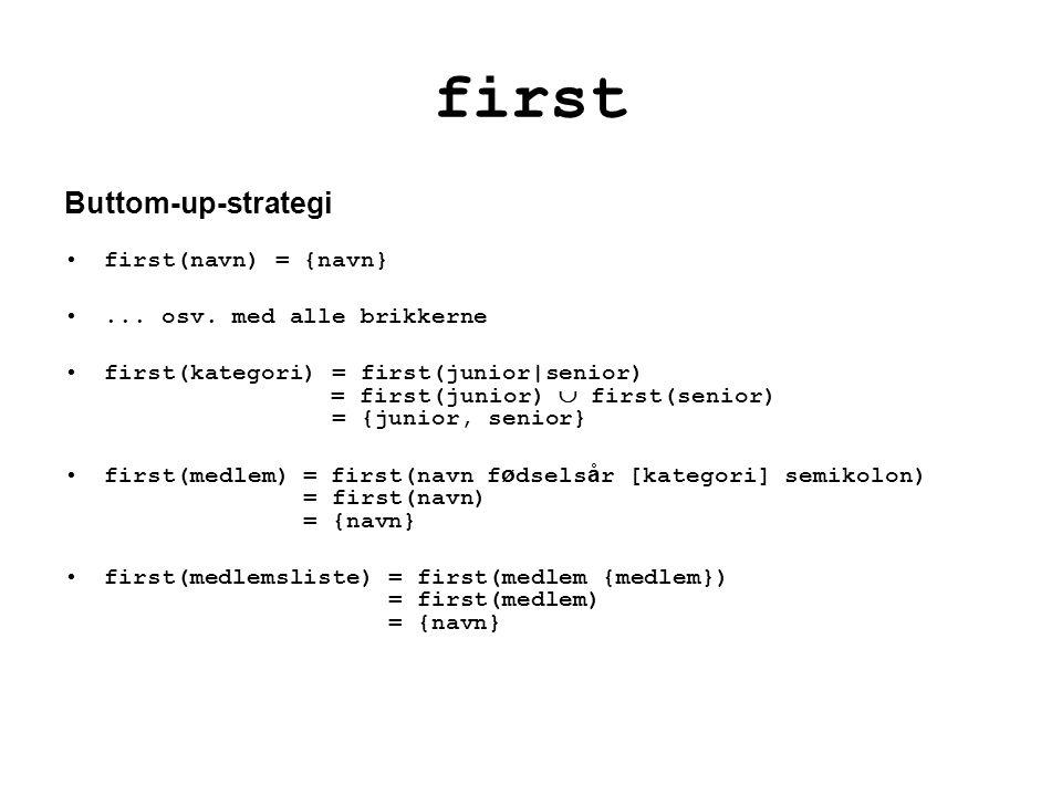 first Buttom-up-strategi first(navn) = {navn}