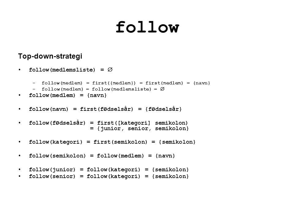 follow Top-down-strategi follow(medlemsliste) = 