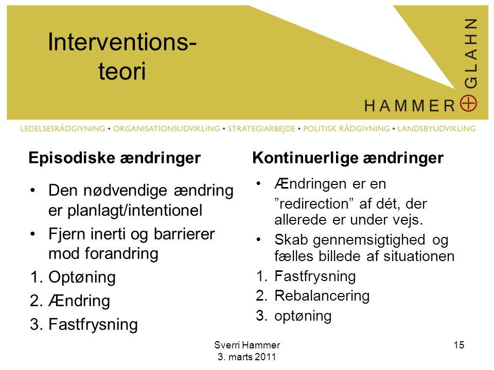 Interventions-teori Episodiske ændringer Kontinuerlige ændringer