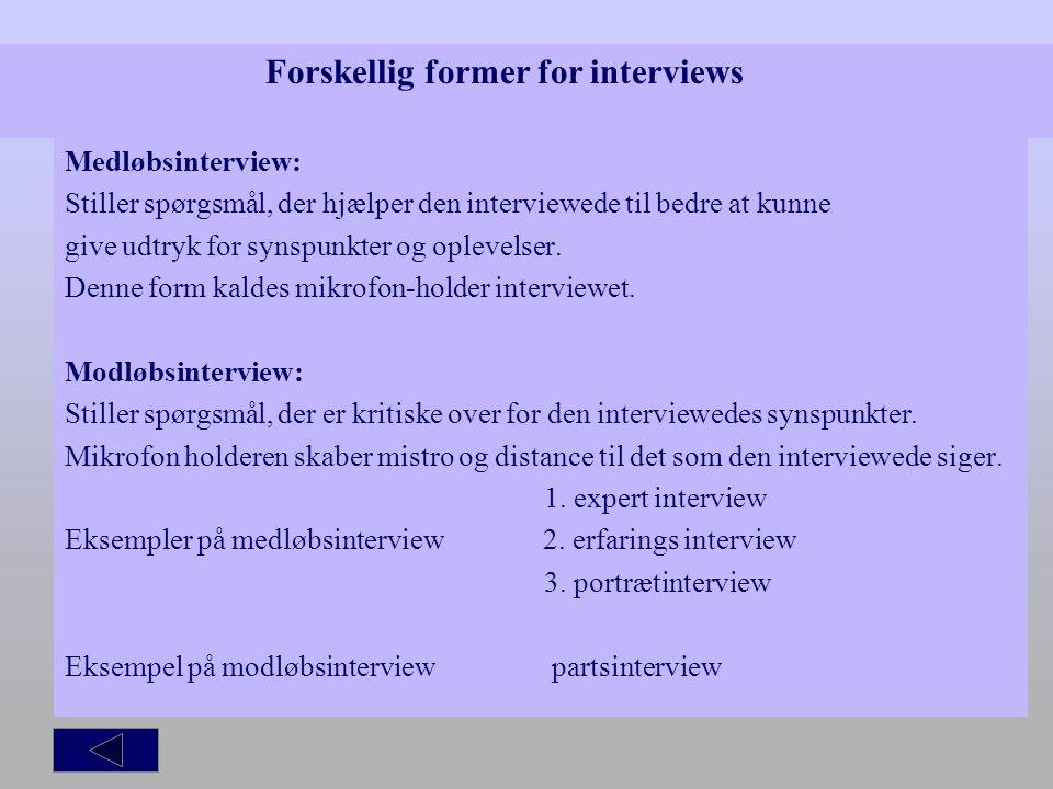 Forskellig former for interviews
