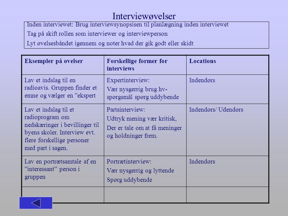 Interviewøvelser Inden interviewet: Brug interviewsynopsisen til planlægning inden interviewet.
