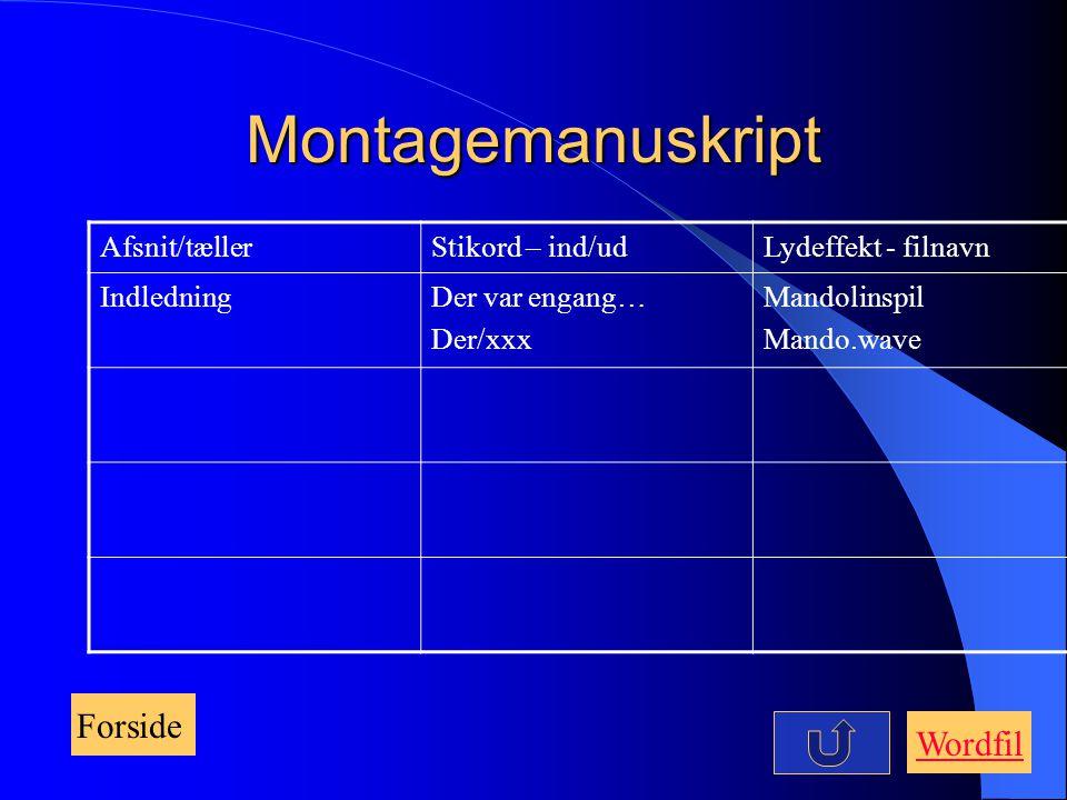Montagemanuskript Forside Wordfil Afsnit/tæller Stikord – ind/ud