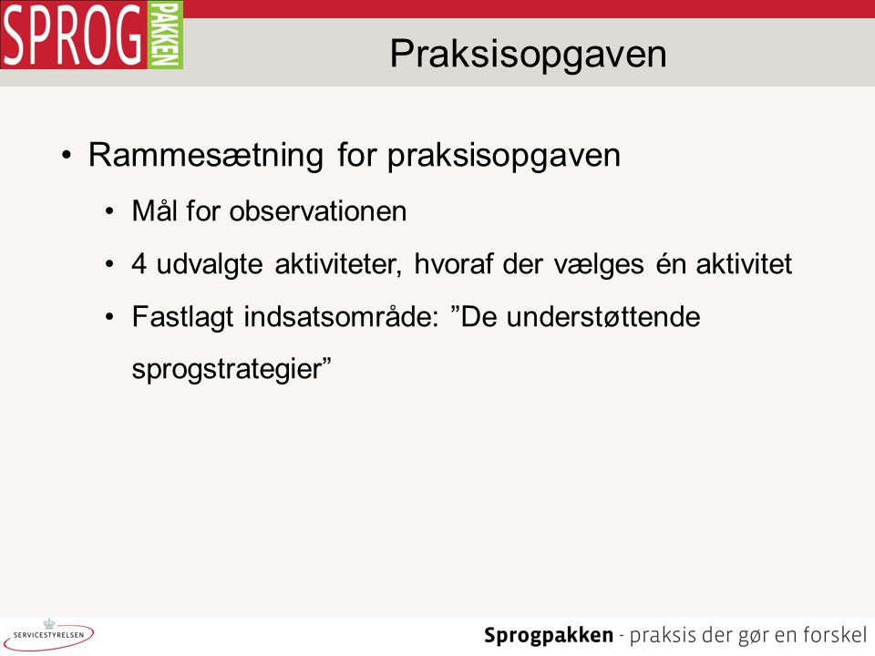 Praksisopgaven Rammesætning for praksisopgaven Mål for observationen