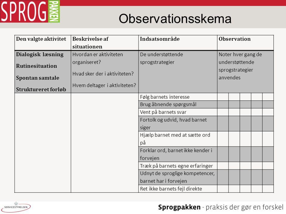 Observationsskema Den valgte aktivitet Beskrivelse af situationen