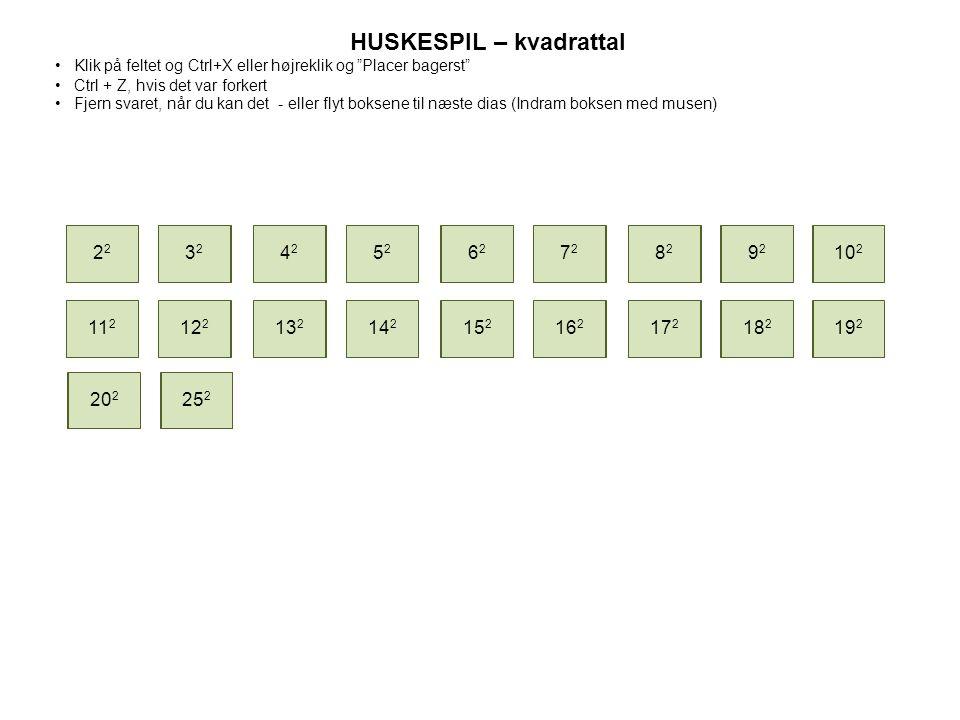 HUSKESPIL – kvadrattal