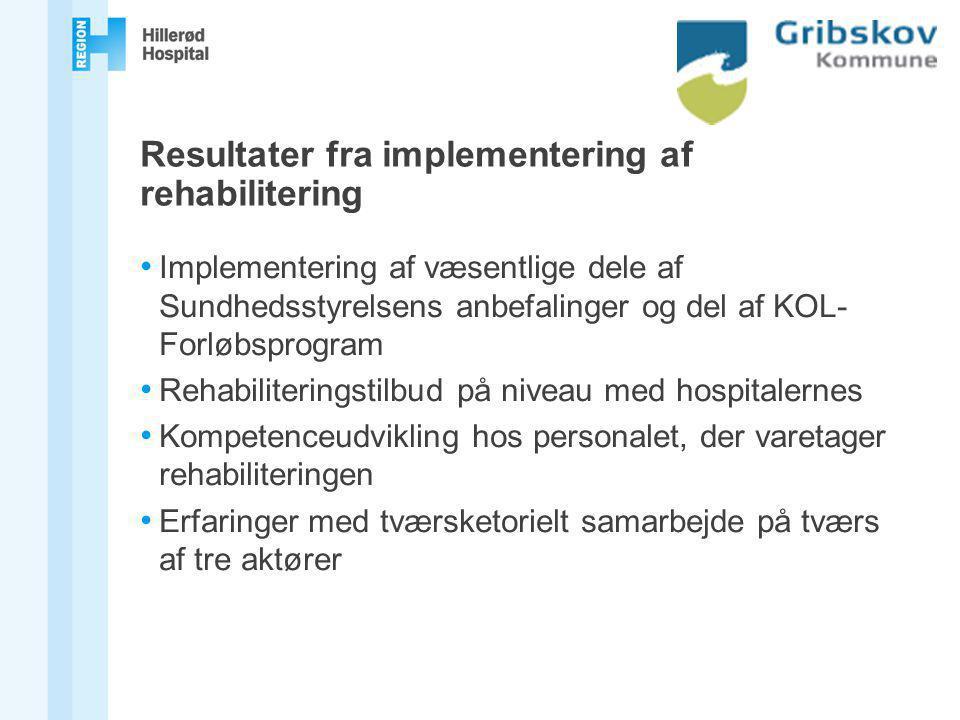 Resultater fra implementering af rehabilitering