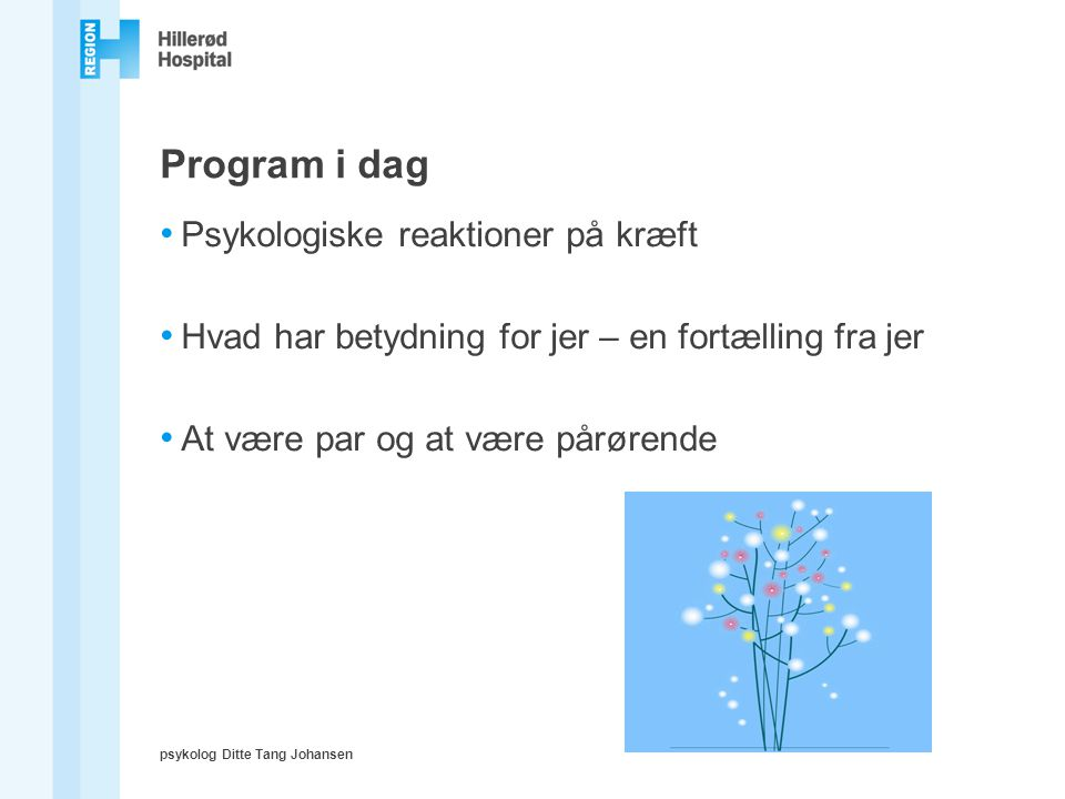 Program i dag Psykologiske reaktioner på kræft