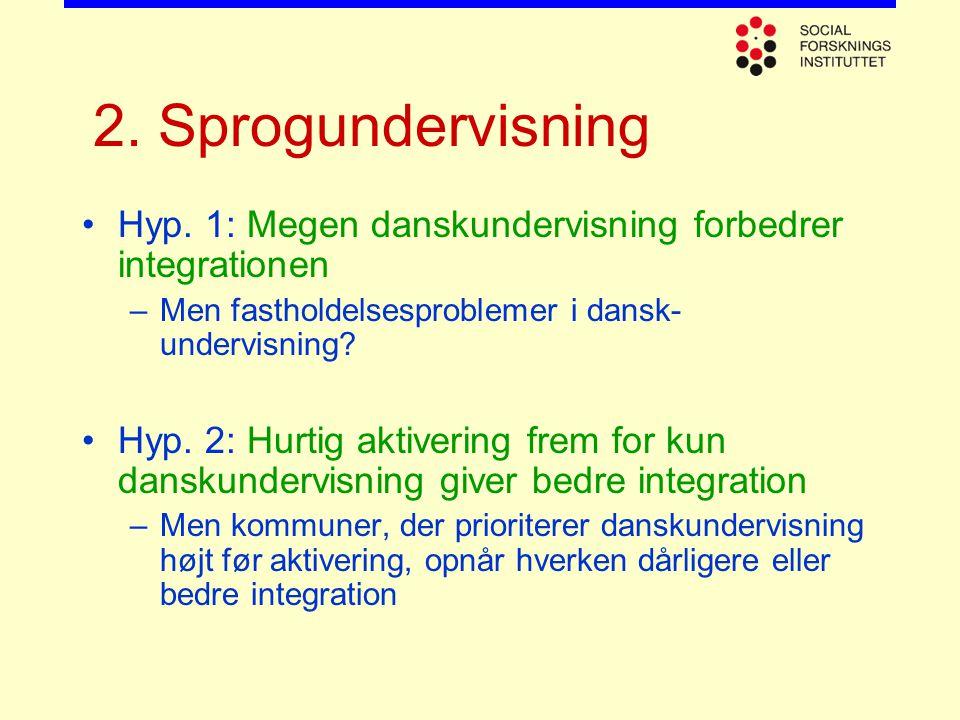 2. Sprogundervisning Hyp. 1: Megen danskundervisning forbedrer integrationen. Men fastholdelsesproblemer i dansk-undervisning