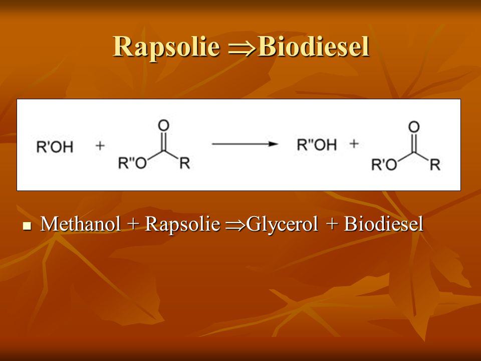 Rapsolie Biodiesel Methanol + Rapsolie Glycerol + Biodiesel