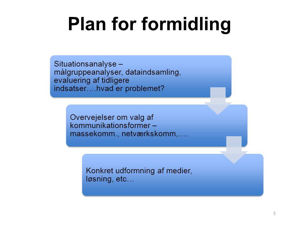 Plan for formidling Situationsanalyse – målgruppeanalyser, dataindsamling, evaluering af tidligere indsatser….hvad er problemet