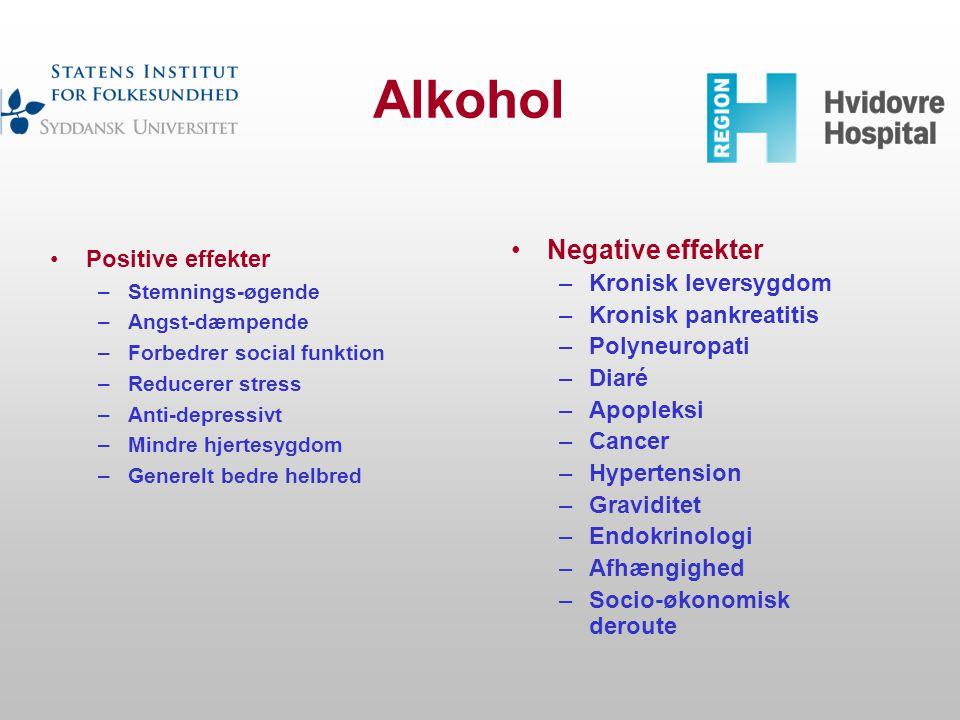 Alkohol Negative effekter Positive effekter Kronisk leversygdom
