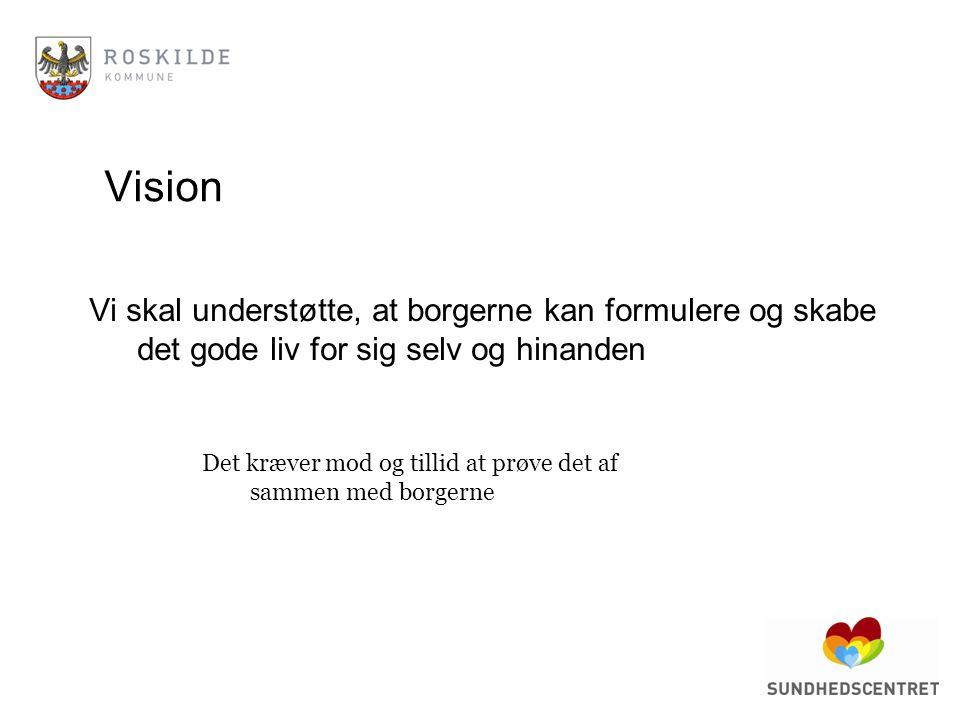 Vision Vi skal understøtte, at borgerne kan formulere og skabe det gode liv for sig selv og hinanden.