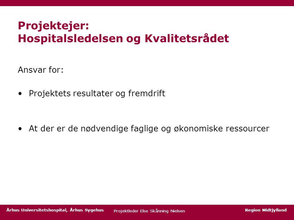 Projektejer: Hospitalsledelsen og Kvalitetsrådet