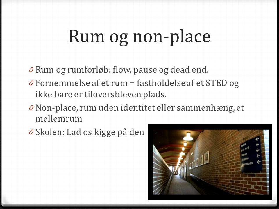 Rum og non-place Rum og rumforløb: flow, pause og dead end.