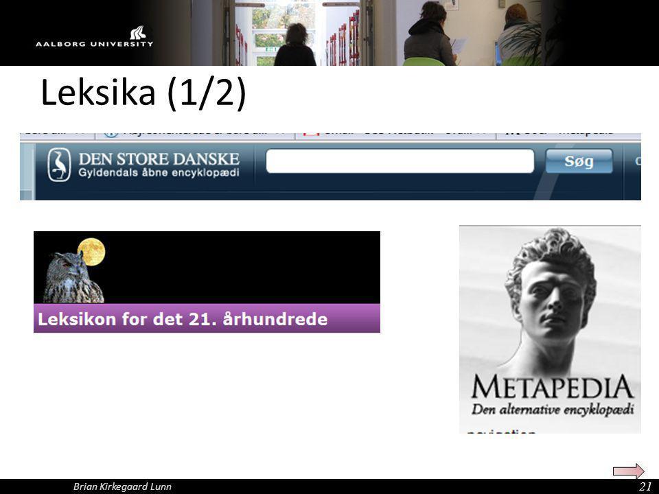 Leksika (1/2) Brian Kirkegaard Lunn