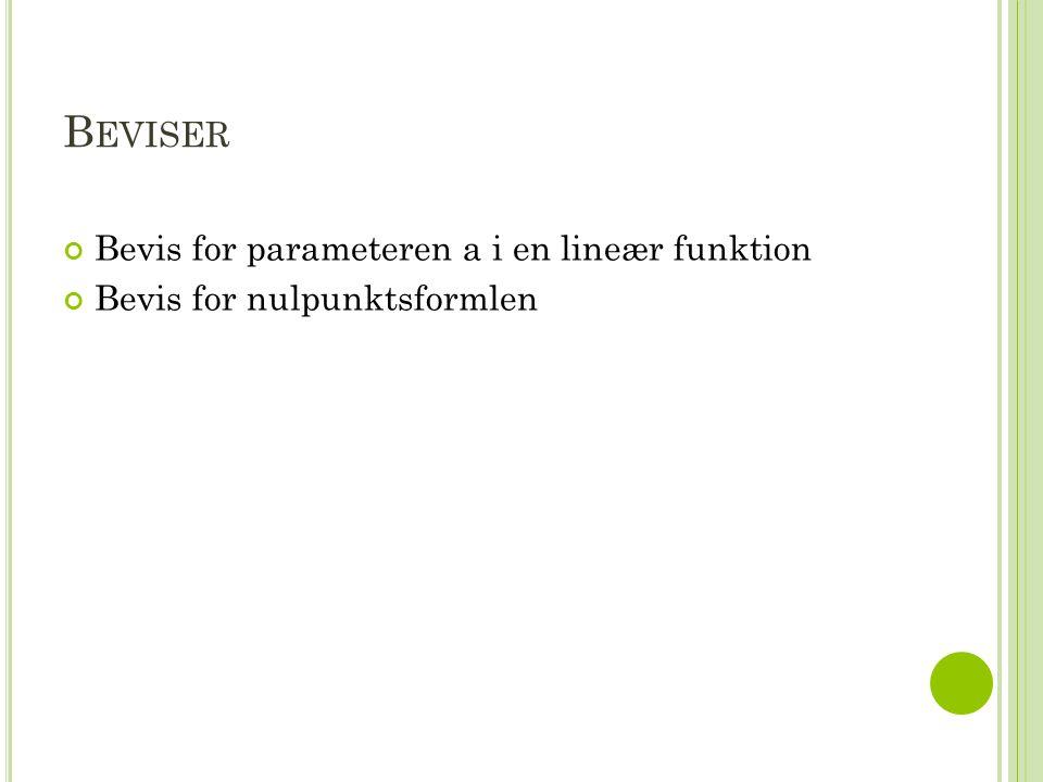 Beviser Bevis for parameteren a i en lineær funktion