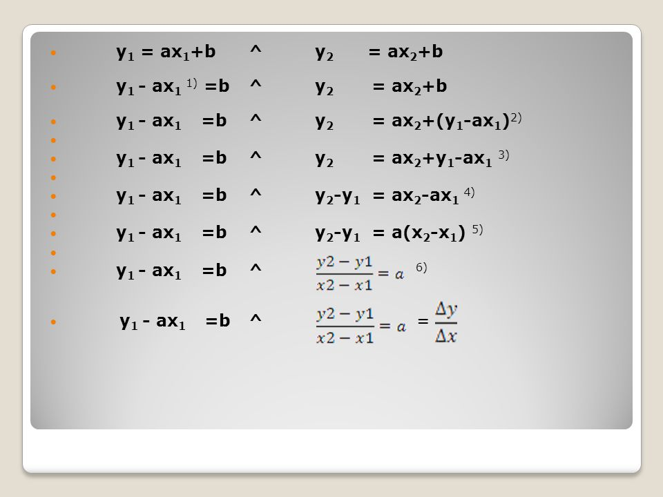 y1 = ax1+b ^ y2 = ax2+b y1 - ax1 1) =b ^ y2 = ax2+b
