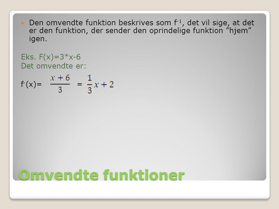 Den omvendte funktion beskrives som f-1, det vil sige, at det er den funktion, der sender den oprindelige funktion hjem igen.