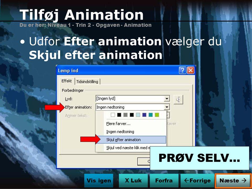 Tilføj Animation Udfor Efter animation vælger du Skjul efter animation
