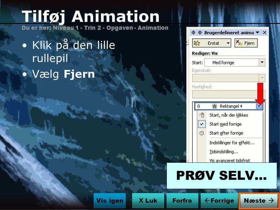 Tilføj Animation PRØV SELV… Klik på den lille rullepil Vælg Fjern