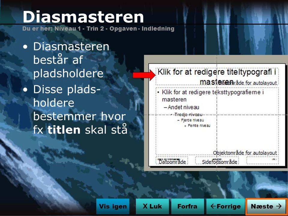 Diasmasteren Diasmasteren består af pladsholdere