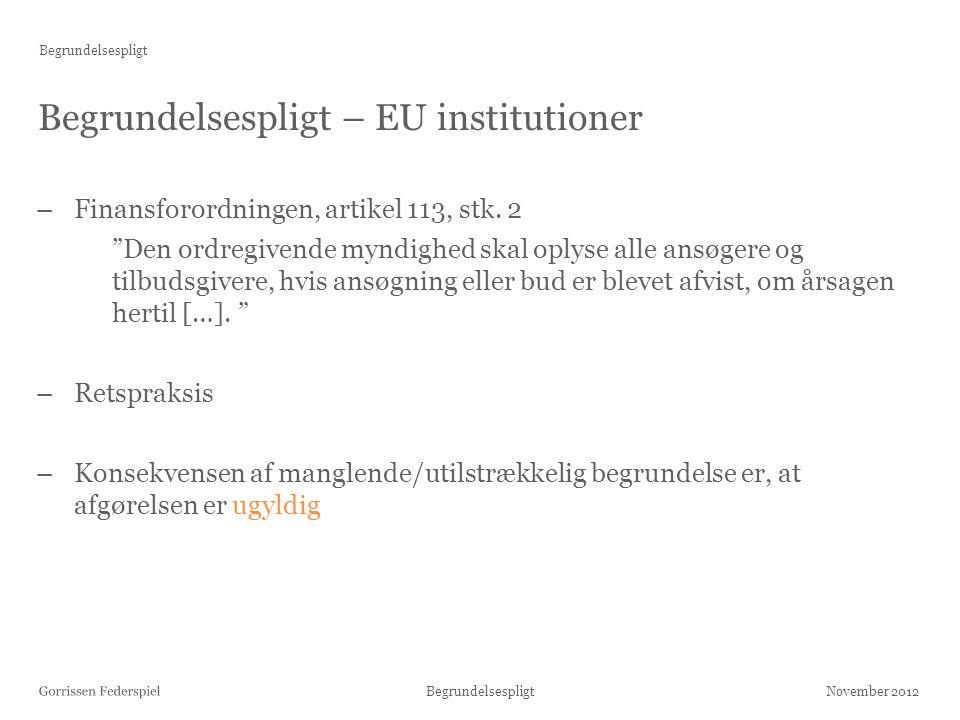 Begrundelsespligt – EU institutioner