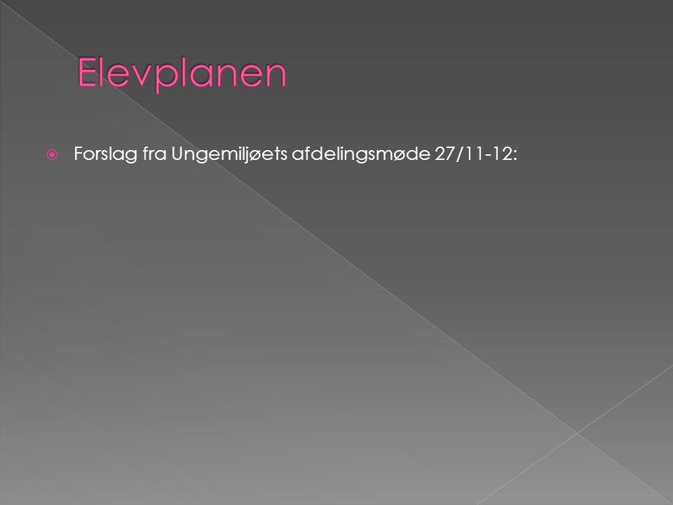 Elevplanen Forslag fra Ungemiljøets afdelingsmøde 27/11-12: