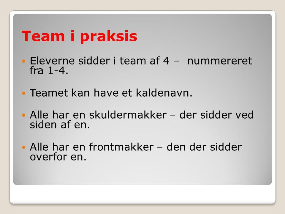 Team i praksis Eleverne sidder i team af 4 – nummereret fra 1-4.