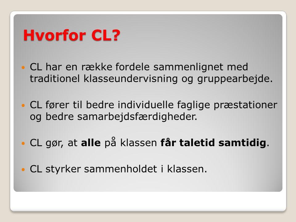 Hvorfor CL CL har en række fordele sammenlignet med traditionel klasseundervisning og gruppearbejde.