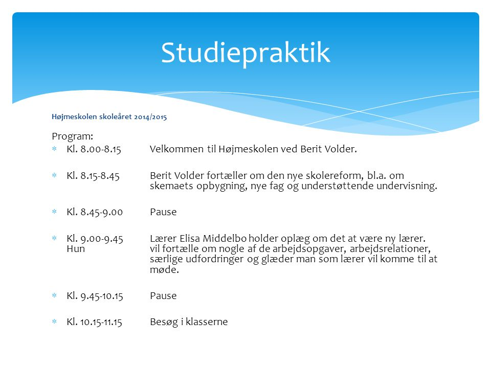 Studiepraktik Program: