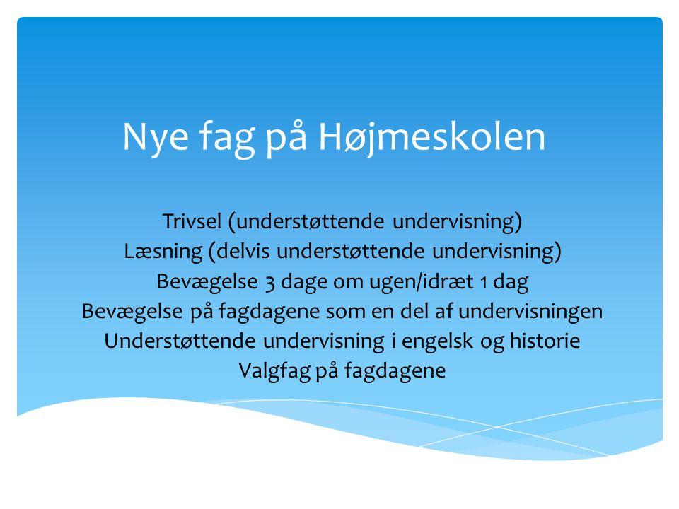 Nye fag på Højmeskolen Trivsel (understøttende undervisning)