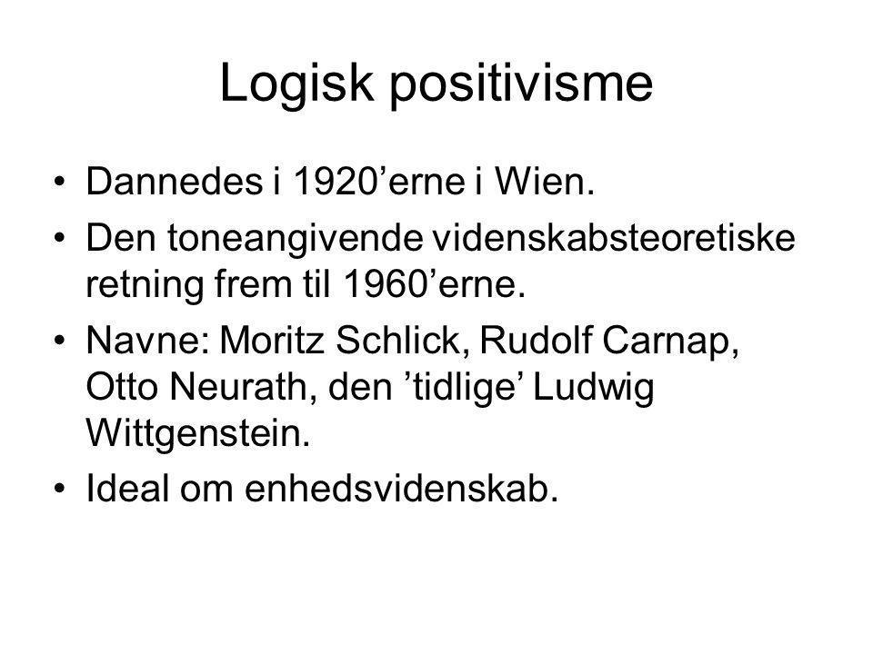 Logisk positivisme Dannedes i 1920'erne i Wien.