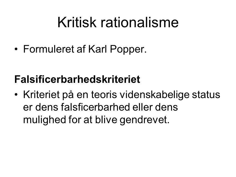 Kritisk rationalisme Formuleret af Karl Popper.