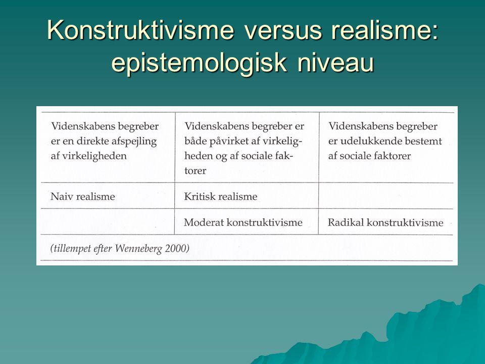Konstruktivisme versus realisme: epistemologisk niveau